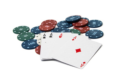 four aces with poker chips