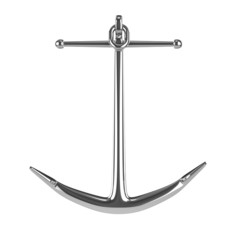 3d Silver anchor front view