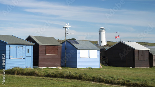 Beach Huts at Portland Bill, Dorset, UK.