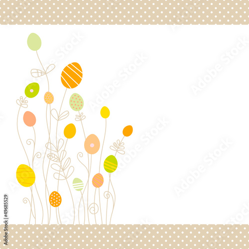 Eggflowers Background Pattern Green/Yellow/Orange Dots