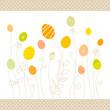 Eggflowers Pattern Green/Yellow/Orange Dots Border