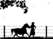 Young beautiful cowgirl and horse on the farm silhouette