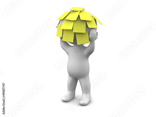 3D Man with many sticky notes on his head
