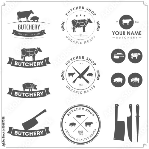 Set of butcher shop labels and design elements