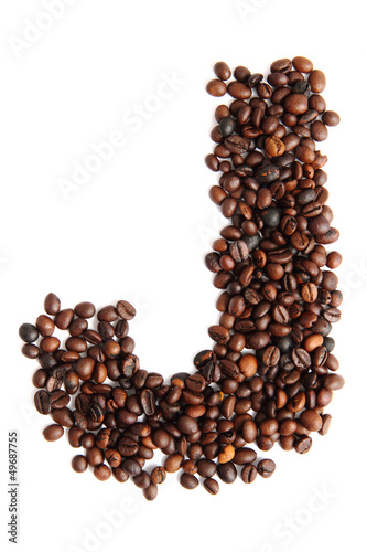 J - alphabet from coffee beans