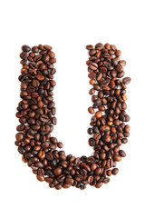 U - alphabet from coffee beans