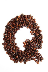 Q - alphabet from coffee beans