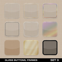 Set Of Colorful App Icon Frames, Templates, Buttons. Set 3. Vect