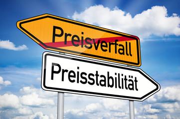 Wegweiser mit Preisverfall und Preisstabilität