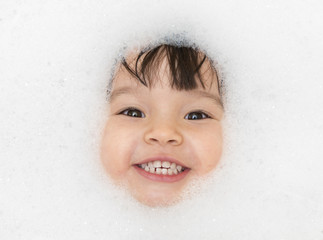 Bubble bath time happy portrait