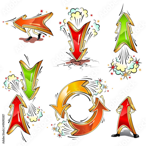 Cartoon moving vector colored arrows