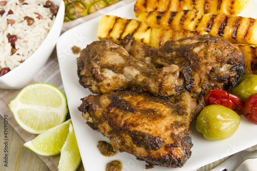 Jerk Chicken - BBQ chicken, grilled pineapple and rice & peas
