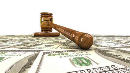 Gavel standing on a dollars