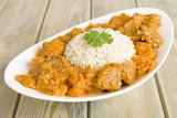 Fototapety Lamb & sweet potato peanut stew & rice. Caribbean & African food