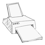 hand drawn, vector, sketch illustration of printer