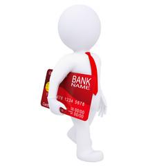 3d man carries a credit card