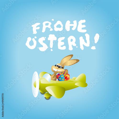 Osterhase Pilot mit Schrift Frohe Ostern