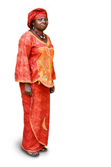 African woman in traditional clothing on white