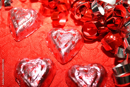 Wrapped Chocolate Heart Candies with Ribbons