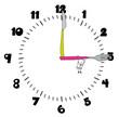 Personnage dessiné jouant sur une horloge
