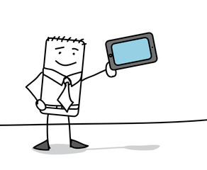 Personnage présentant une tablette tactile
