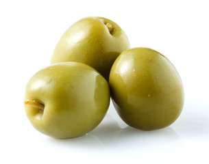 thre green olives isolated on white