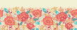 Raster Colorful vibrant flowers elegant horizontal seamless