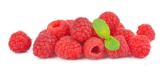 Ripe raspberry with mint