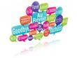 nuage de mots bulles 3d : au revoir