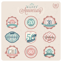 Collection of Vintage-Retro styled Labels of anniversary