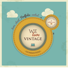 Vintage-retro styled vector eps10 website template.