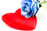 Blue rose on a Heart