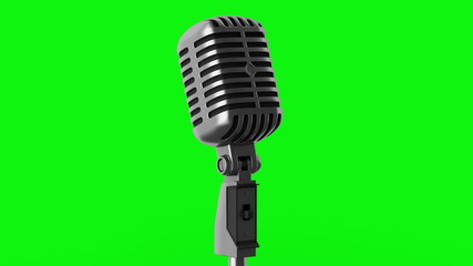 vintage microphone loop rotate on green chromakey background