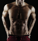 Close up of muscular male torso