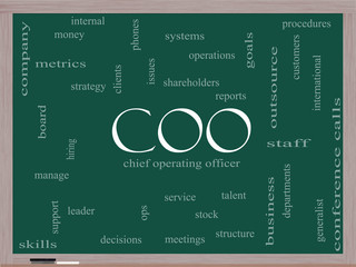COO Word Cloud Concept on a Blackboard