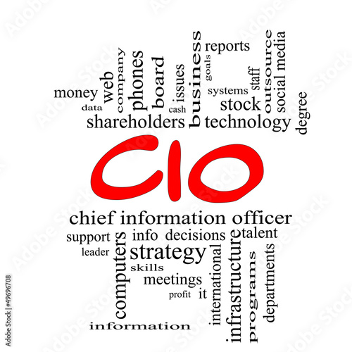 CIO Word Cloud Concept in red caps