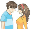 Cute Teen Couple with Manga (cartoon) Style