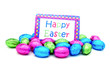 Pile of colorful chocolate eggs with Happy Easter card