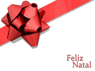 Red Bow Ribbon Merry Christmas Portuguese Language