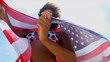 Laughing Ethnic Girl American Flag