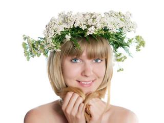 The girl with yarrow wreath