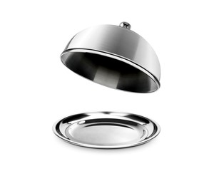Silver cloche and platter with open lid