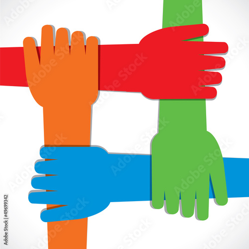 hand join each other stock vector