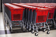 rows of shopping cart in the store