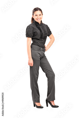 Full length portrait of a young professional woman posing