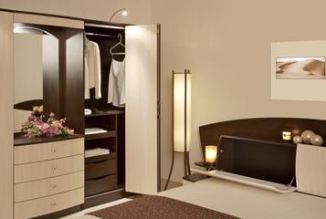 Detail of bedroom wardrobe open
