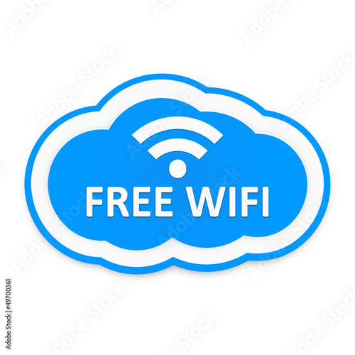 Blue white free wifi cloud icon on white background
