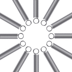 Metal springs on a white background