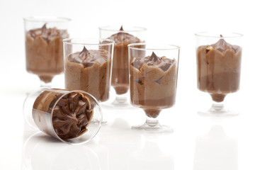 chocolate desserts in plastic glasses