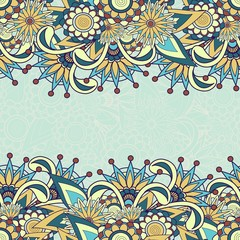 Seamless paisley background with text space